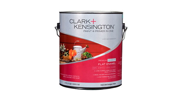 "Photo of a Clark + Kensington can of ""flat enamel"" exterior paint."