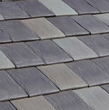 Photo of fake slate roofing shingles.