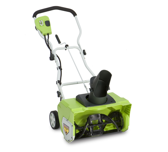 A green, single-stage electric snow blower.