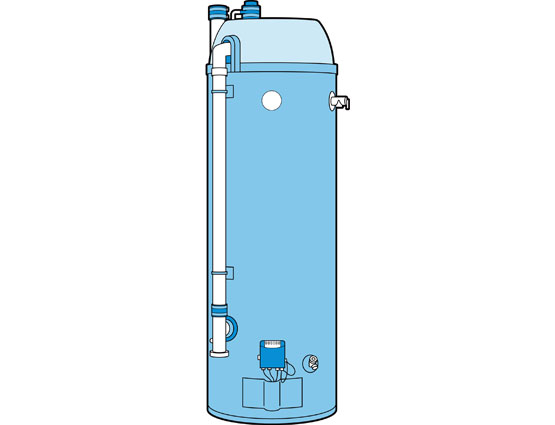 Illustration of a condensing water heater.
