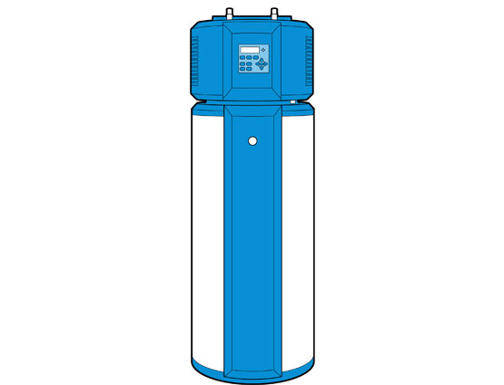 Illustration of a heat pump/hybrid water heater.