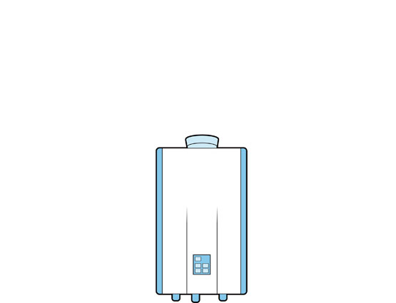 Illustration of a tankless/on-demand water heater.