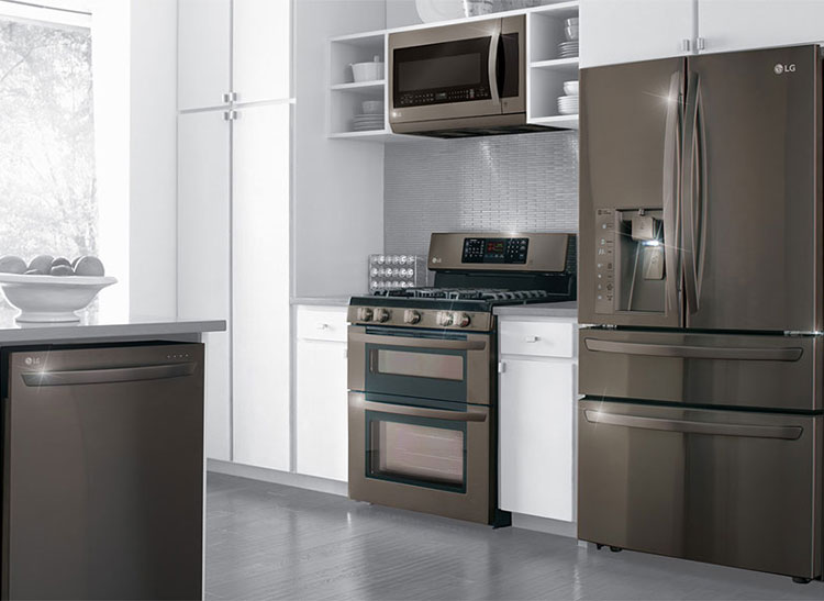 LG's black stainless kitchen appliances.