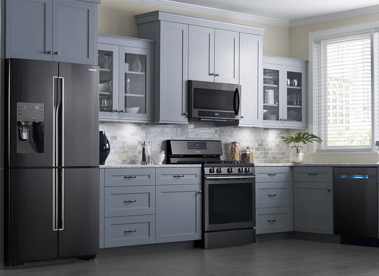 delightful Samsung Kitchen Appliance Set #7: Black stainless steel appliances from Samsung.
