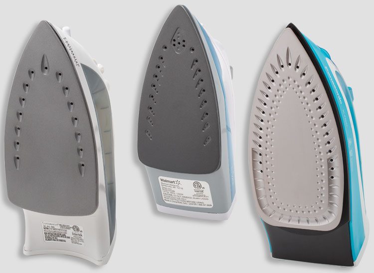 Three steam irons from Consumer Reports' tests.