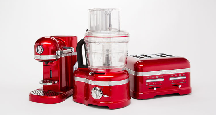 A KitchenAid small appliance suite.