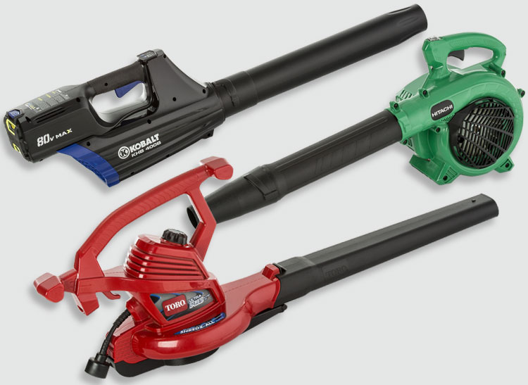 Three leaf blowers from Consumer Reports tests.