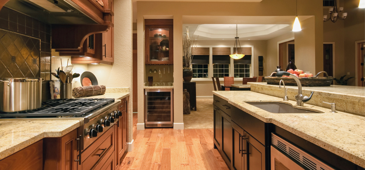 Hardwood floors and quartz counters are ideal for low-maintenance living.