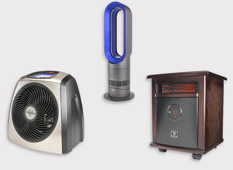 Vornado TVH600, Dyson AM09, and Heat Storm Logan space heaters.