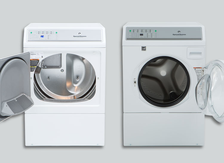 Matching Speed Queen ADEE9BGS173TW01 dryer and AFNE9BSP113TW01 front-loader laundry pair.