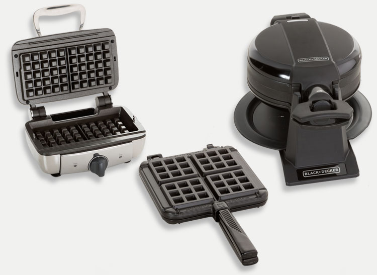 the All-Clad Belgian Waffle Maker 2-Square NS, NordicWare Stovetop Belgian Waffler; and Black & Decker Double Flip.