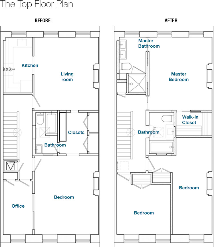 Blue print illustration of the bedroom floor before and after