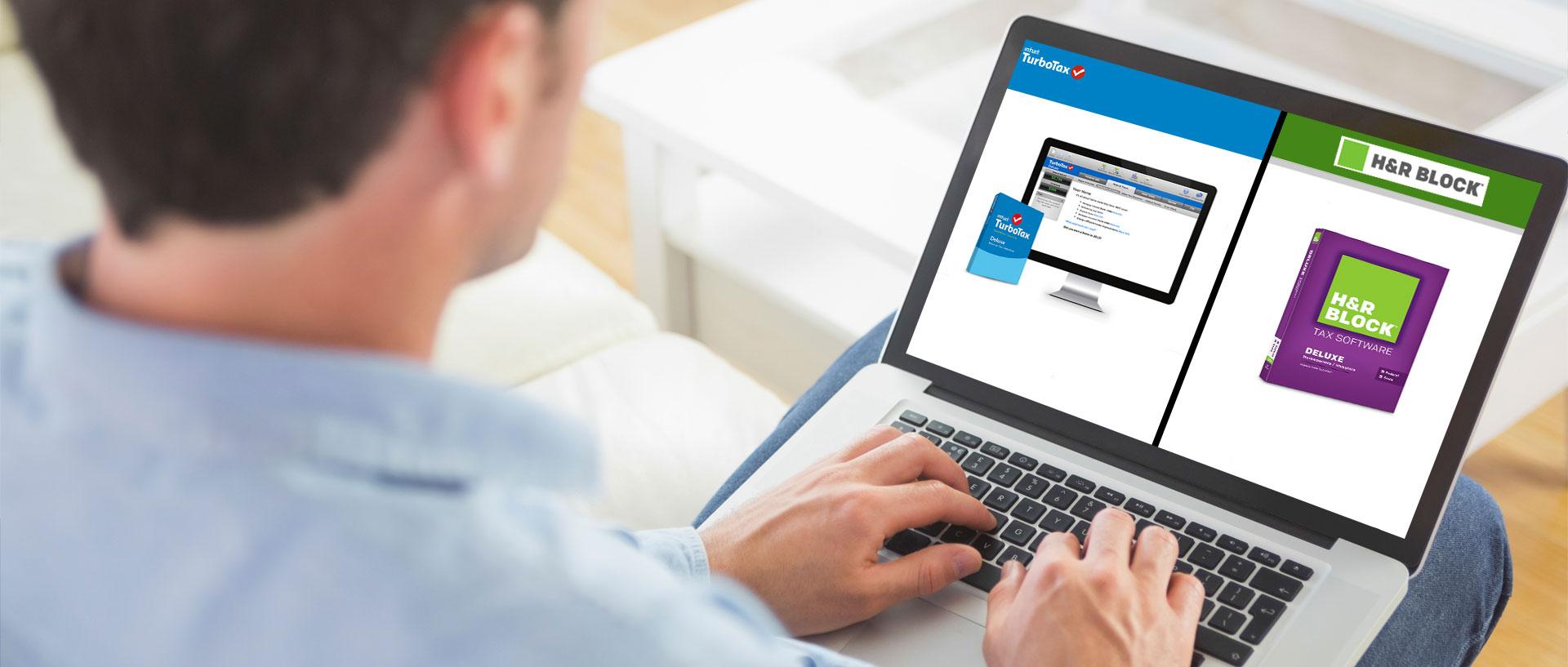 Tax Preparation Software: H&R Block Deluxe vs. TurboTax Deluxe #0880C4