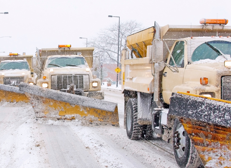 A line of municipal snow plows.