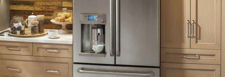 A GE counter-depth refrigerator.