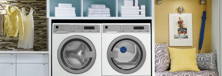 Matching compact washer and dryer.