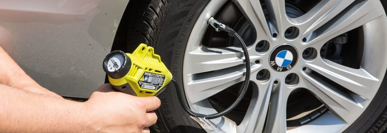 Tire inflator in use.