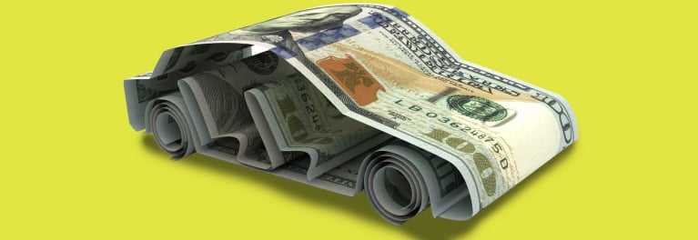 An illustration of paper money folded in the shape of a car sedan.