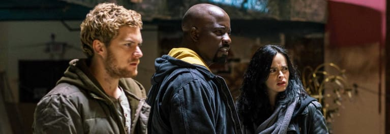 "Iron Fist, Luke Cage, and Jessica Cage from Netflix's ""The Defenders"""