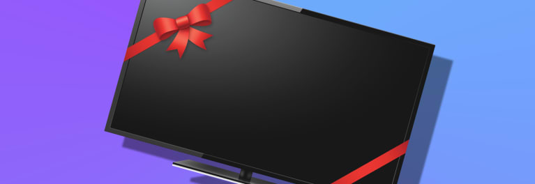 Photo of a TV wrapped in red ribbon for a Holiday TV Deals promotion