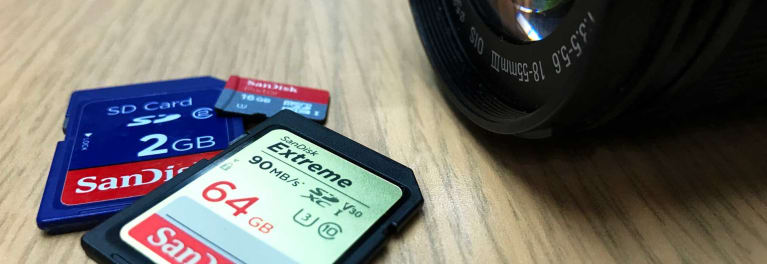 This is a photo of three different memory cards.