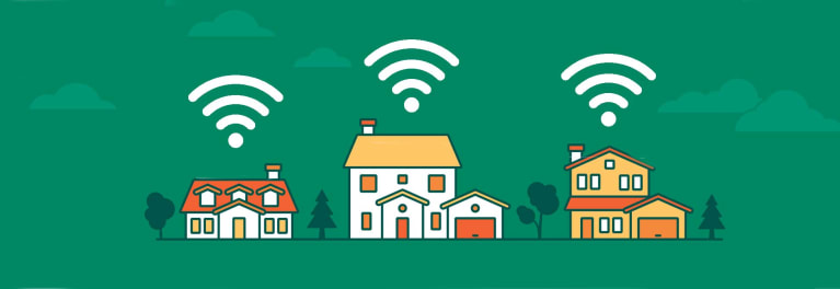 krack wifi flaw and the solutions illustrated in a drawing of three small houses with wifi signals