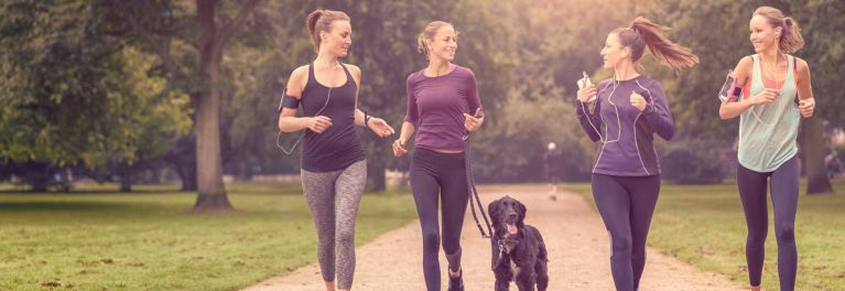 Women walking. Exercise reduces breast cancer recurrence risk.