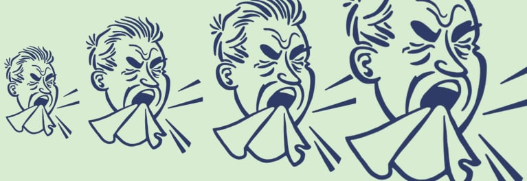 An illustration of a guy sneezing (repeated).