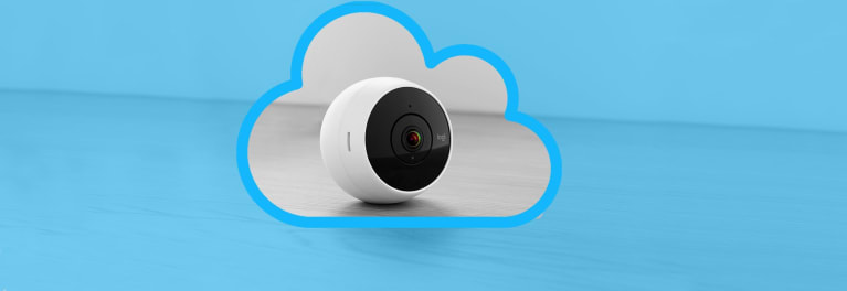 Picture of a security camera; CR breaks down home security camera cloud storage offerings.