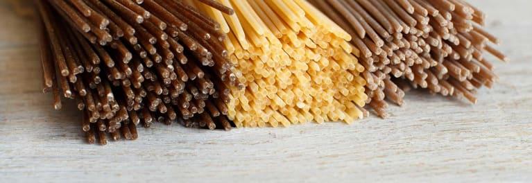 Three whole wheat pastas, spaghetti.