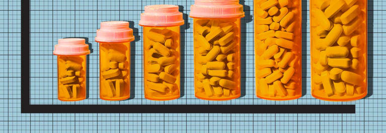 Pill bottles on a graph. Americans suffer as drug costs rise, a Consumer Reports survey finds.