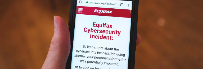 A smartphone screen with info about the Equifax breach.