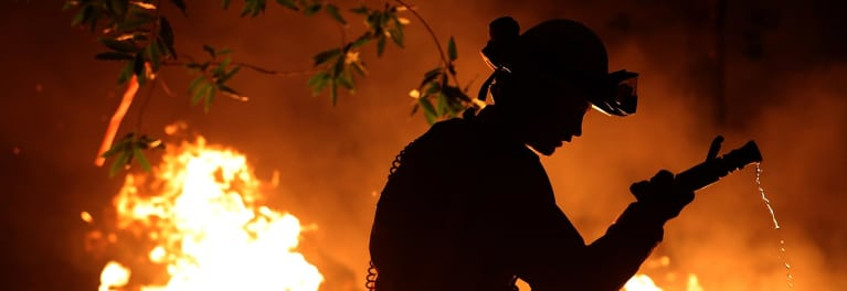 A fire fighter battling a wildfire.
