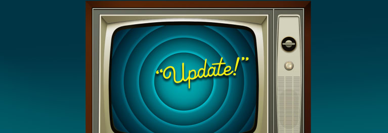 An old TV with the word Update on the screen to illustrate a TV update prompt.