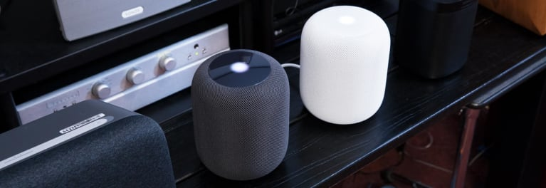 Apple HomePod speakers in a Consumer Reports test lab.