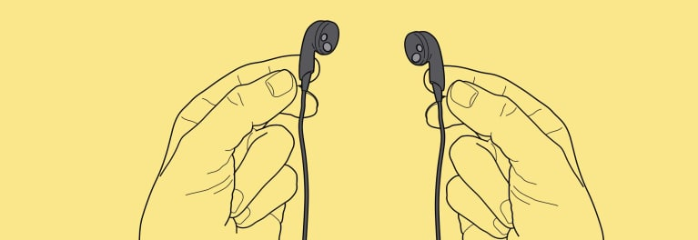 Drawing of hands holding headphones, on a yellow background.