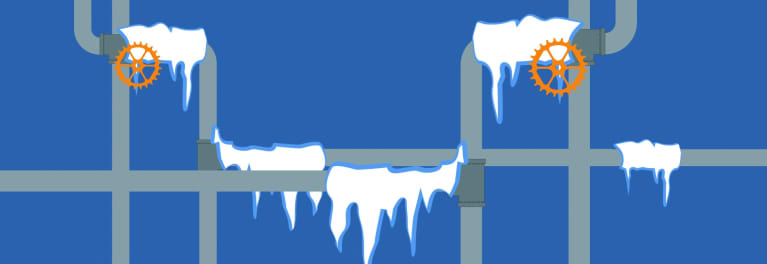 Illustration of frozen pipes.