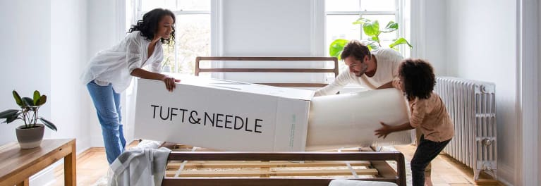 Unboxing a Tuft and Needle bed-in-a-box.