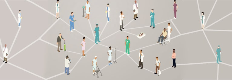 An illustration of a web of doctors and patients