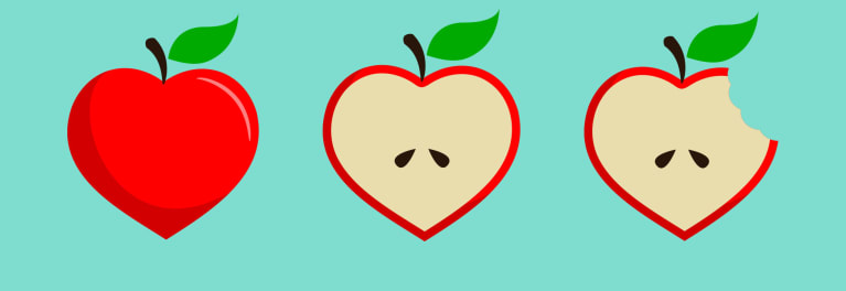An illustration of apples, which are part of a heart-healthy diet.