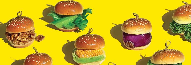 Veggie burgers, vegetables inbetween buns.