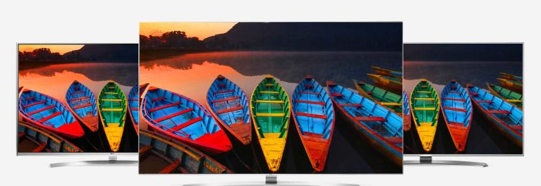 Photos of three LG 4K UHD TVs with HDR technology.