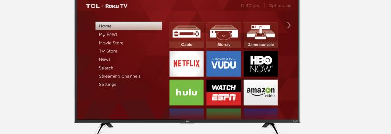 Photo of a TCL UHD TV showing the Roku TV interface, which gets 4K and HDR in 2016