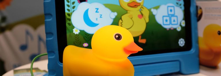 Connected toys are a major trend as evidenced by Edwin the Duck, a floating bath toy