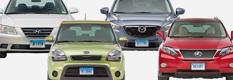 A photo of some best used cars: the Hyundai Sonata, the Kia Soul, the Mazda CX-5, and the Lexus RX