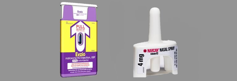 An Evzio auto injector and Narcan Nasal Spray.