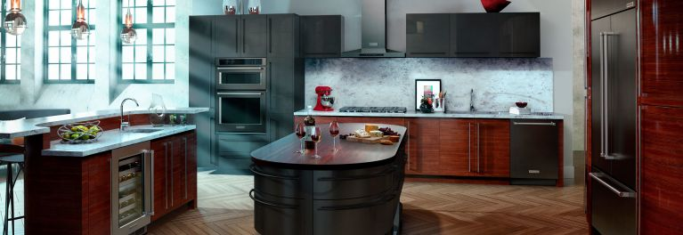 Black stainless steel appliances from KitchenAid.