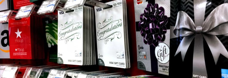 A photo of gift cards on display at a store
