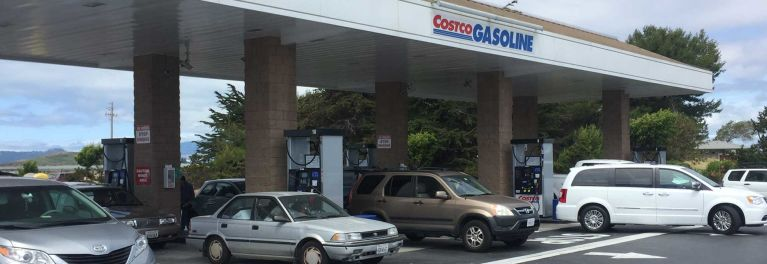 Motorists fill up and often pay with a cash-back credit card at a Costco gas station in California.