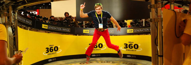 This is a photo of the Nikon booth showing 360-degree photography